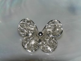 Vintage EMMONS Signed Small Openwork Silvertone Butterfly Pin Brooch – marked on - $10.39