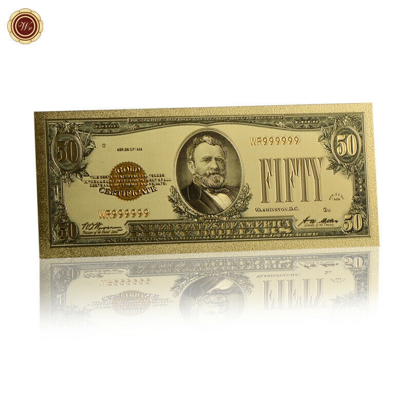 WR 1928 $50 Dollar Colored Gold Banknote Certificate Old Bill Note Collection
