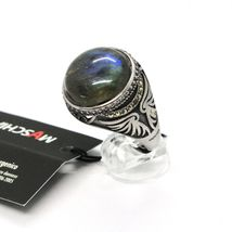 925 Silver Ring Brown Burnt Labradorite & Marcasite Made in Italy by Maschia image 3