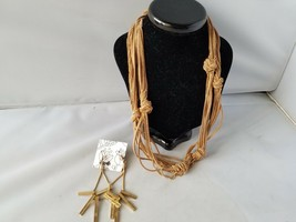 Vintage Fashion Necklace Gold Tone Chain Cord Knotted & Matching Earrings - $8.51
