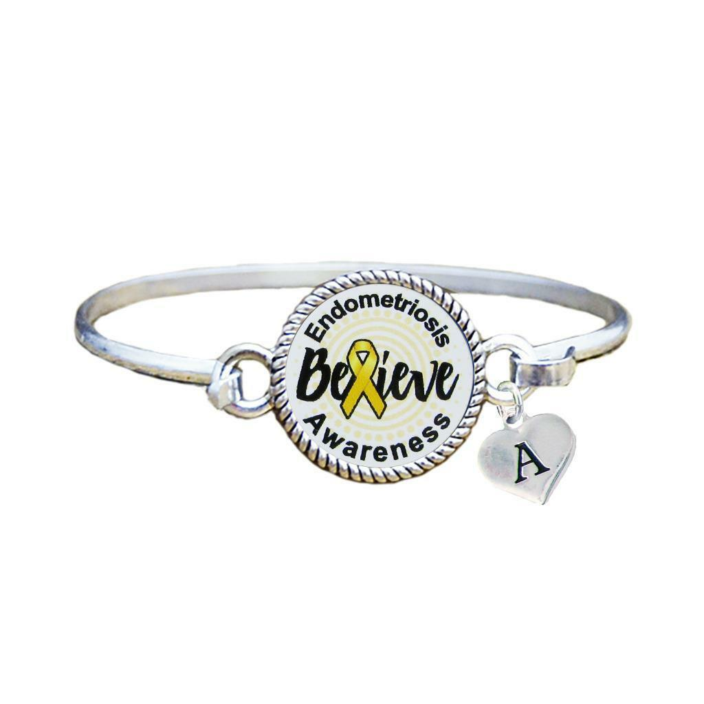 Primary image for Custom Endometriosis Awareness Believe Silver Bracelet Jewelry Choose Initial