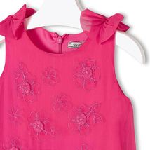 Mayoral Little Girls Fuchsia Embroidered Bow Shoulder Drop Waist Chiffon Dress image 3