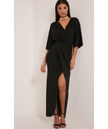 Prettylittlething Archer Black Cape Maxi Dress Black Size US 6 NWT - $29.99