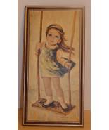 "Vintage Framed Print Swingtime Girl By M. Medeiros 8"" X 16""-Big Eyed Kid... - $14.99"