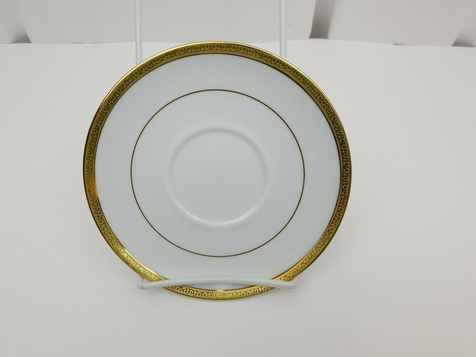 Charter Club Home Grand Buffet Gold Saucers Lot of 2 White Gold Trim 6 1/2""