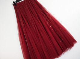 Wine Red Long Tulle Sequin Skirt High Waisted Red Christmas Holiday Skirt Outfit image 12