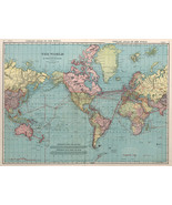 Mercator's Projection 1912 World Map Poster Wall Art Decor Print Globe 1... - $12.38