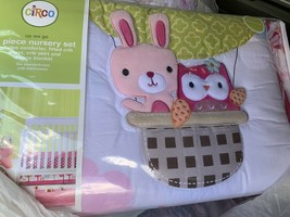 Circo Up We Go Owl Animal 4 Pc Baby Girl Crib Bedding Set Bunny Polka Dots New - $44.99