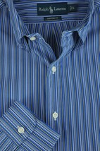 Ralph Lauren Men's Blue & White Fine Striped Cotton Casual Shirt L Large - $26.99
