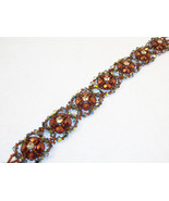 Beaded Bead Weave Bracelet, Swarovski and Zcech Crystal Copper - $59.00