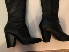 Steven Madden Tall Black Leather Healed Boots ~ Size 8 - $65.45