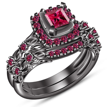 Princess Cut Pink Sapphire Black Gold Plated 925 Silver Bridal Wedding Ring Set - $102.80