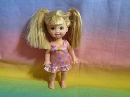 Mattel Kelly Doll Blonde Hair in Pony Tails Pink Dress - No Shoes - As Is  - $6.88
