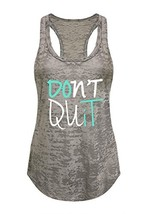 Tough Cookie's Women's Don't Quit Do It Printed Art Burnout Tank Top Lar... - $16.11