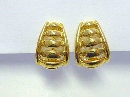 Vintage NAPIER Bright Gold Hoop Clip Back Earrings Retro Modern MCM - $18.99