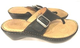 Born Black Leather T-Strap Thong Wedge Sandals Buckle Accent Shoes Womens Size 7 - $26.08