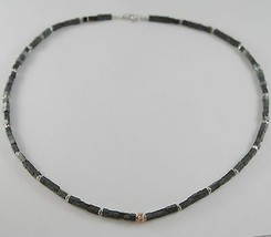Necklace Giadan 925 Silver Hematite Glossy and with 8 Diamonds Black Mad... - $190.19