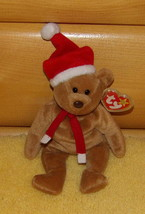 TY Beanie Baby 1997 Brown TEDDY Bear in Red Santa Hat & Scarf MWT - $7.77