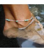"Silver Anklet Ankle Bracelet Italian turquoise color beads 9"" plus 2"" extender - $8.90"