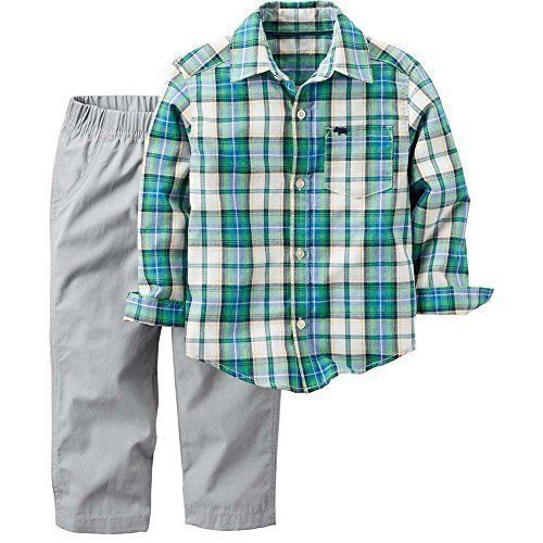 a8525571c36 S l1600. S l1600. NEW Carters Boys Baby 2 Piece Playwear Set Plaid Green Grey  Pants 6M. Free Shipping