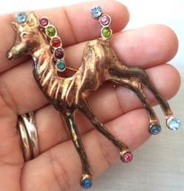 PONY HORSE signed STERLING Silver Vermeil Rhinestone BROOCH Pin - 2 5/8 ... - $48.00