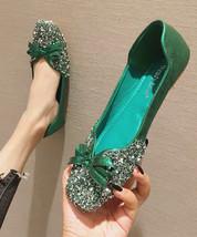 Sequin Green Ballet Flats Slippers Shoes Evening flats Party Shoe Weddin... - £39.24 GBP