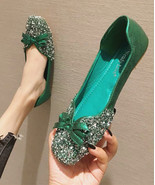 Sequin Green Ballet Flats Slippers Shoes Evening flats Party Shoe Weddin... - $48.00