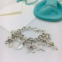 Tiffany & Co Nature Flower Butterfly Dragonfly Star Moon Gem Charm Bracelet - $299.00