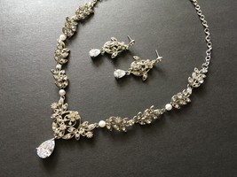 Sparkle charms necklace, crystals necklace, bridal necklace, wedding jew... - $39.88