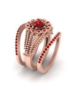 Unique Design 3Pc Engagement Ring Band Set Red Garnet Matching Promise Ring Set - $1,579.99