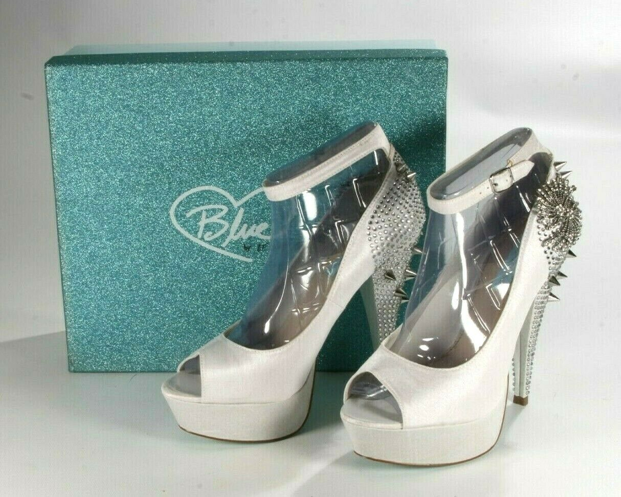 Betsy Johnson White Satin Elope Platform Spike Heel Wedding Prom Party Size 8.5