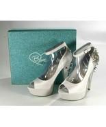 Betsy Johnson White Satin Elope Platform Spike Heel Wedding Prom Party S... - $53.89