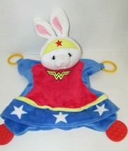 Baby Gund Wonder woman bunny rabbit teether Security Blanket red white b... - $20.04