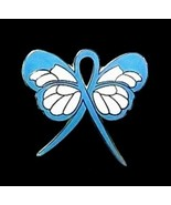 Light Blue Ribbon Awareness Pin Butterfly Pro Choice Lymphedema Cancer C... - $13.97
