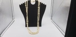 """Vintage Signed Monet Long 31"""" Faux Pearl & Crystal Beaded Necklace Gold ... - $19.32"""