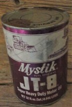 Mystick JT 8  Super Heavy Duty Motor Oil Cato Co  Vintage Full Quart Can... - $9.89