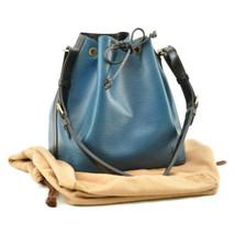 LOUIS VUITTON Epi Petit Noe Bicolor Shoulder Bag Blue/Black M44152 LV Au... - $320.00