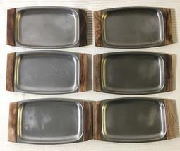 6 Vintage Stainless Steel Snack Serving Trays • Wood Handles • Mid-Centu... - $19.75