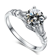 Women's Wedding Heart Shape Ring 14k White Gold Plated 925 Silver Round Cut CZ - $79.62
