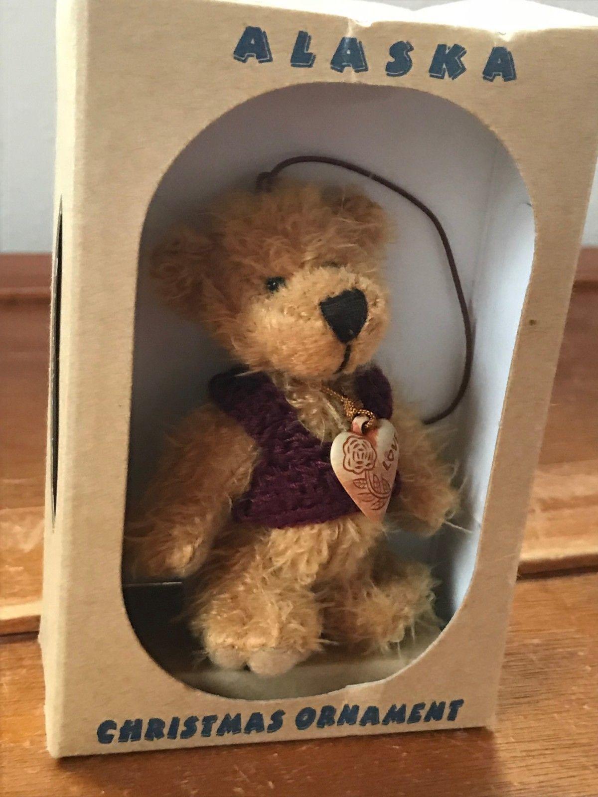 Estate Kipmik Plush Tan Jointed Mini Teddy Bear with Dark Red Sweater & Plas