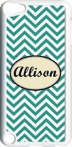 Monogrammed Teal Blue Chevron Design iPod Touch 5th Gen 5G White TPU Cas... - $11.26