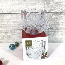 Mikasa Festive Poinsettia Votive Candle Holder Frosted Clear Crystal Cut... - $9.70