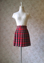 RED Pleated PLAID SKIRT Campus Style Red Plaid Pleat Skirt Red Check Mini Skirt image 1
