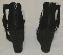 BF Betani Shiloh 8 Black Fringe Wedge Heel Sandals Size 6 image 5