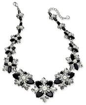 new CHARTER CLUB Silver Black Crystal Stone & Imitation Pearl Cluster Ne... - $48.41
