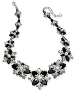 new CHARTER CLUB Silver Black Crystal Stone & Imitation Pearl Cluster Ne... - $48.41