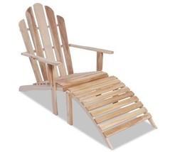Outdoor Adirondack Chair Garden Wood Teak Sun Lounger Patio Seater W/ Fo... - $151.99