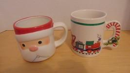 Coffee Cups Christmas Hallmark-Trains-Santa Claus-Hot Chocolate-Tea-Cand... - $13.36