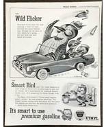 1955 Ethyl Gasoline PRINT AD Road Birds Series Wild Flicker Eric Gurney Art - $11.89