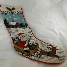 "Needlepoint stocking Santa Claus in sleigh at Christmas 19"" cotton linin... - $19.79"